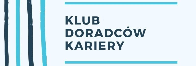 Zdjęcie przedstawia logo Klubu Doradców Kariery - napis na bardzo jasno-niebieskim tle z niebieskimi i granatowymi paskami.