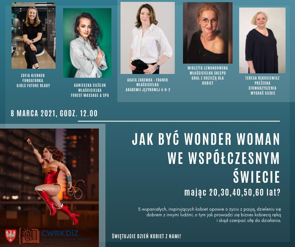 Plakat zawiera tytuł wydarzenia, zdjęcia prelegentek webinaru z podaniem imienia i nazwiska oraz tego czym się zajmują, a także zdjęcie filmowej Wonder Woman.