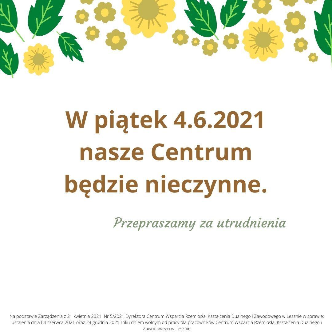 Informacja na białym tle. U góry zielone liście i żółte kwiaty (grafika wektorowa).
