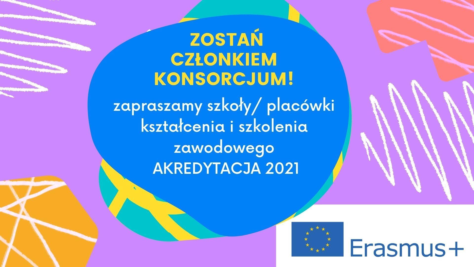 Grafika wektorowa (kolorowe tło) zapraszająca szkoły oraz placówki kształcenia i szkolenia zawodowego do zostania członkiem konsorcjum.