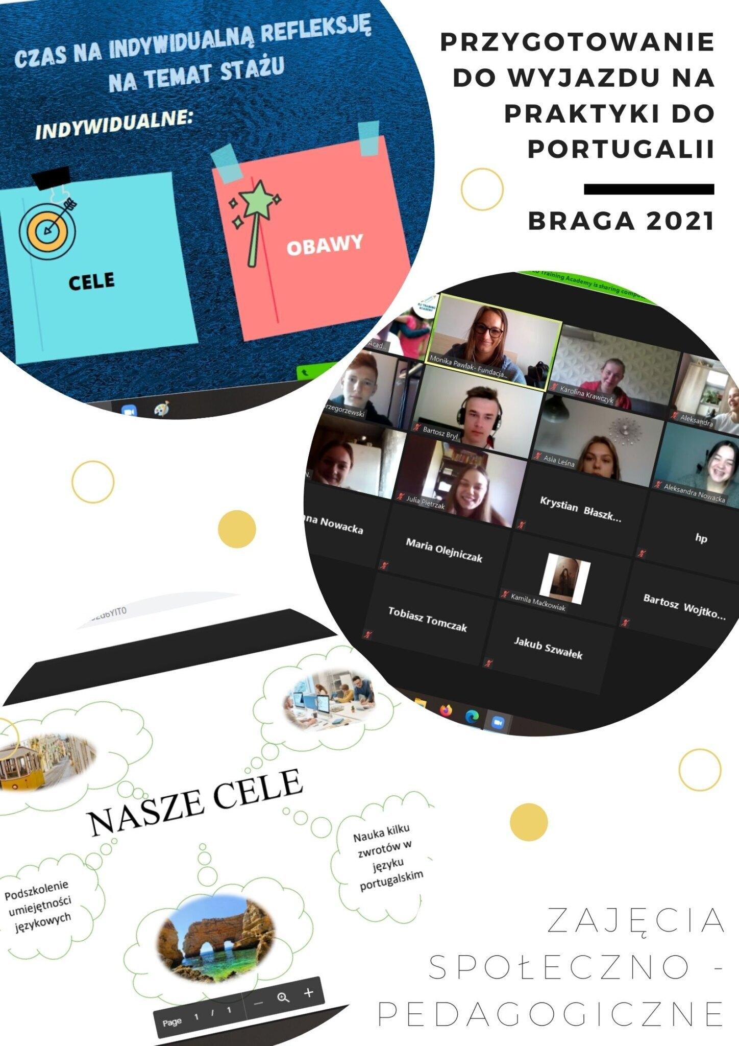 Trzy zdjęcia z przygotowania online do wyjazdu na praktyki do Portugalii - zajęcia społeczno-pedagogiczne.