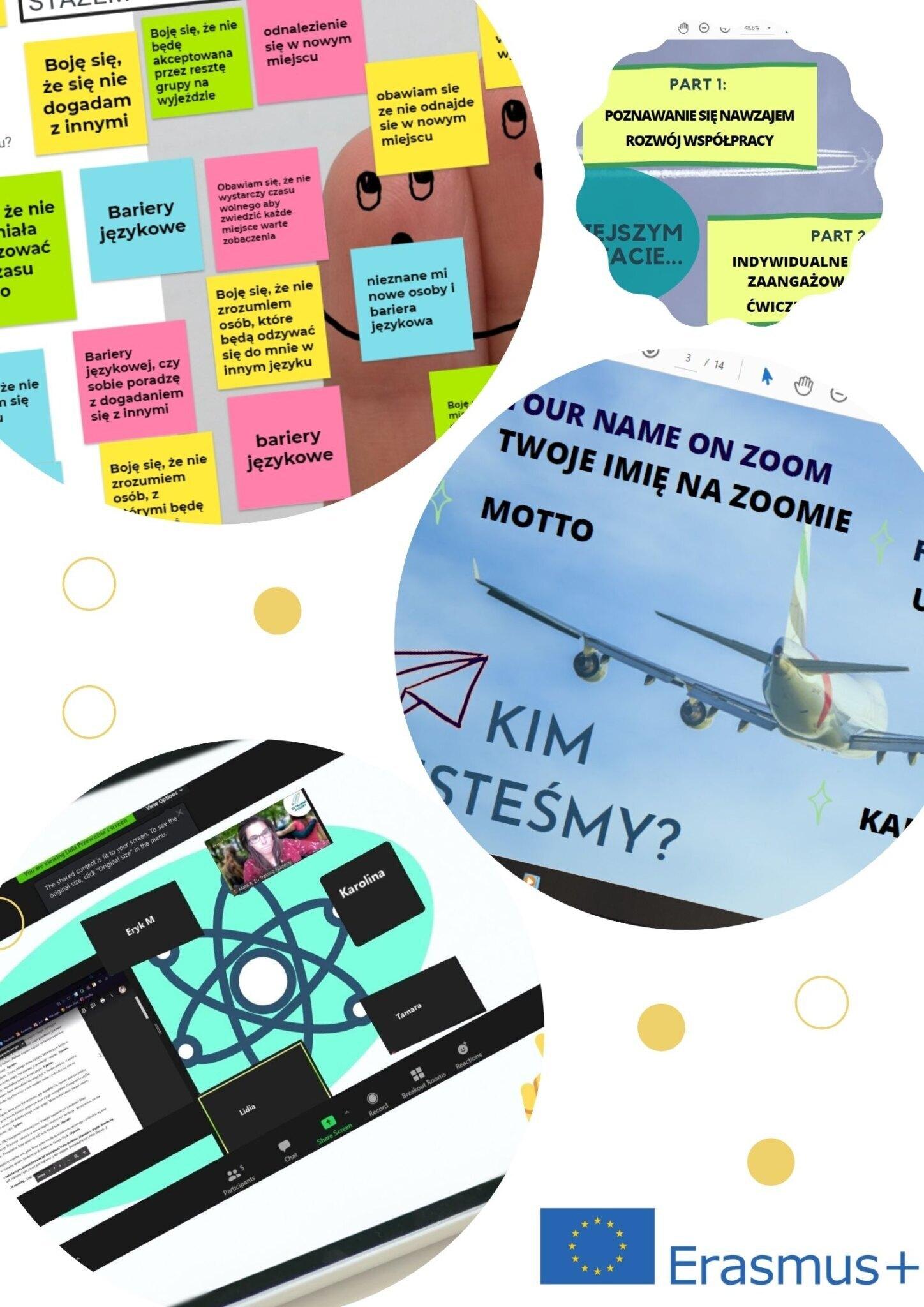 Grafika przedstawia kolaż czterech zdjęć z zajęć online , które miały na celu przygotowanie młodzieży do wyjazdu na praktyki do Portugalii - zajęcia społeczno-pedagogiczne.